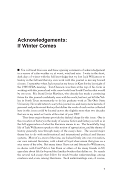 Acknowledgements: If Winter Comes