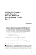Of Starship Troopers and Refuseniks: War and Militarism in U.S. Science Fiction, Part 2