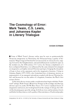 The Cosmology of Error: Mark Twain, C.S. Lewis, and Johannes Kepler in Literary Trialogue