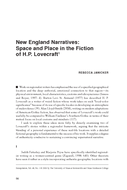 New England Narratives: Space and Place in the Fiction of H.P. Lovecraft