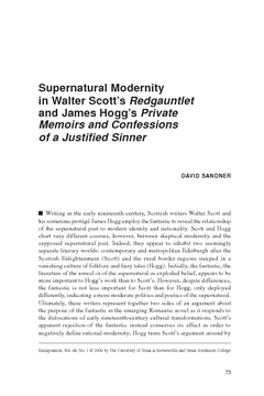 Supernatural Modernity in Walter Scott's Redgauntlet and James Hogg's Private Memoirs and Confessions of a Justified Sinner