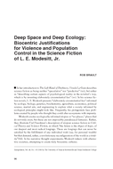 Deep Space and Deep Ecology: Biocentric Justifications for Violence and Population Control in the Science Fiction of L. E. Modesitt, Jr.