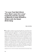 """To Love That Well Which Thou Must Leave Ere Long"": Creativity and the Journey of Maturity in Kate Wilhelm's Where Late the Sweet Birds Sang"