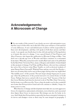 Acknowledgements: A Microcosm of Change