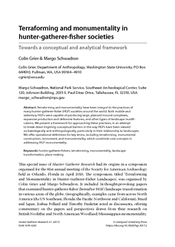 Terraforming and monumentality in hunter-gatherer-fisher societies