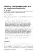 Autonomy, cognitive development, and the socialisation of cooperation in foragers