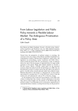 From Labour Legislation and Public Policy towards a Flexible Labour Market: The Ambiguous Privatization of a Policy Area