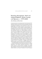 Remaking Management, Work and Industrial Relations: British Commercial Television, c. 1979-2000