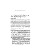 Re-Forming Skills in British Engineering, 1900-40: A Contingent Failure