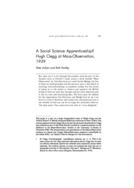 A Social Science Apprenticeship? Hugh Clegg at Mass-Observation, 1939