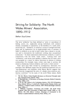 Striving for Solidarity: The North Wales Miners' Association, 1890-1912