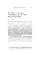 The Origins of Disorderly Wage-Bargaining in the British Engineering Industry