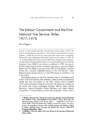 The Labour Government and the First National Fire Service Strike, 1977-1978