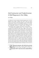 Anti-Communism and Trade-Unionism: A Brief Response to Tom Sibley