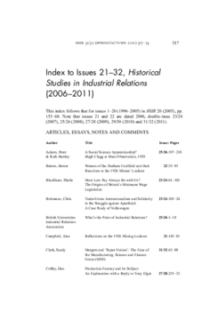 Index to Issues 21-32, Historical Studies in Industrial Relations (2006-2011)