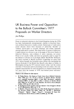 UK Business Power and Opposition to the Bullock Committee's 1977 Proposals on Worker Directors