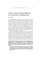 Order in British Industrial Relations: From Donovan to Neoliberalism