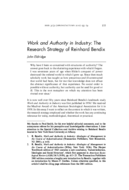 Work and Authority in Industry: The Research Strategy of Reinhard Bendix