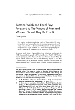 Beatrice Webb and Equal Pay: Foreword to The Wages of Men and Women: Should They Be Equal?