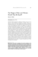 The Wages of Men and Women: Should They Be Equal?