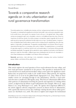Towards a comparative research agenda on in situ urbanisation and rural governance transformation