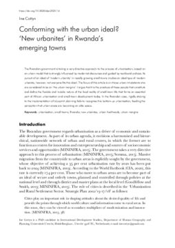 Conforming with the urban ideal? 'New urbanites' in Rwanda's emerging towns