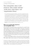 Non-metropolitan cities in Latin American urban studies: between 'trickle-down urban theory' and 'singularisation theory'