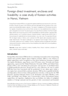 Foreign direct investment, enclaves and liveability: a case study of Korean activities in Hanoi, Vietnam