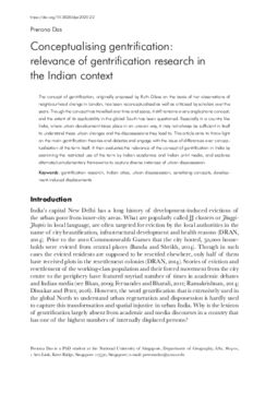 Conceptualising gentrification: relevance of gentrification research in the Indian context
