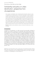 Scholarship and policy on urban densification: perspectives from city experiences