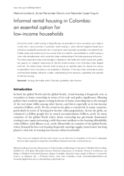 Informal rental housing in Colombia: an essential option for low-income households