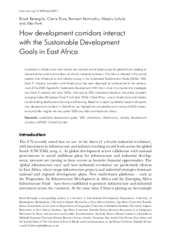 How development corridors interact with the Sustainable Development Goals in East Africa