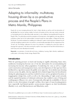 Adapting to informality: multistorey housing driven by a co-productive process and the People's Plans in Metro Manila, Philippines