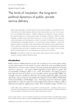 The limits of insulation: the long-term political dynamics of public-private service delivery
