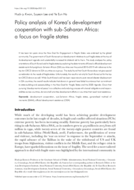 Policy analysis of Korea's development cooperation with sub-Saharan Africa: a focus on fragile states