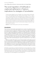 The social regulation of livelihoods in unplanned settlements in Freetown: implications for strategies of formalisation