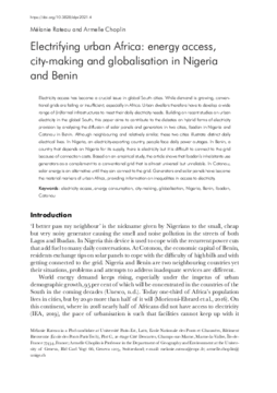 Electrifying urban Africa: energy access, city-making and globalisation in Nigeria and Benin