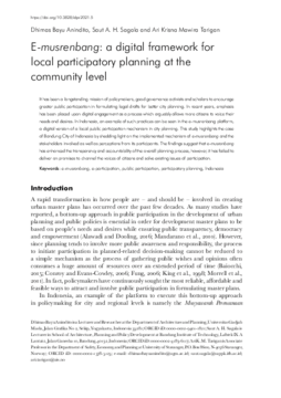 E-musrenbang: a digital framework for local participatory planning at the community level