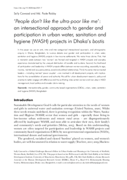 'People don't like the ultra-poor like me': an intersectional approach to gender and participation in urban water, sanitation and hygiene (WASH) projects in Dhaka's bostis