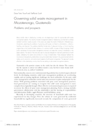 Governing solid waste management in Mazatenango, Guatemala: Problems and prospects