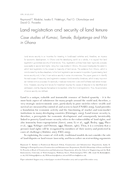 Land registration and security of land tenure: Case studies of Kumasi, Tamale, Bolgatanga and Wa in Ghana