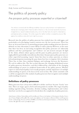 The politics of poverty policy: Are pro-poor policy processes expert-led or citizen-led?