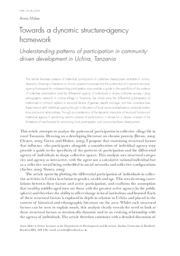 Towards a dynamic structure-agency framework: Understanding patterns of participation in community-driven development in Uchira, Tanzania