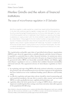Merilee Grindle and the reform of financial institutions: The case of micro-finance regulation in El Salvador