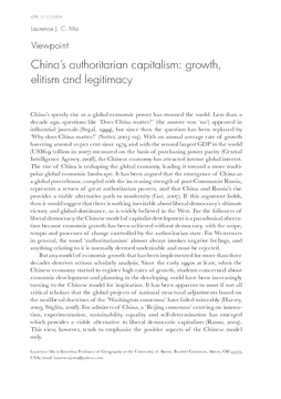 Viewpoint: China's authoritarian capitalism: growth, elitism and legitimacy