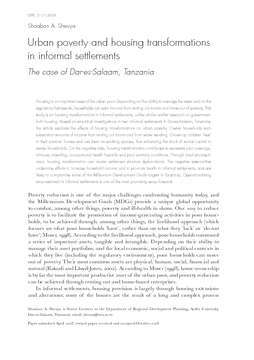 Urban poverty and housing transformations in informal settlements: The case of Dar-es-Salaam, Tanzania