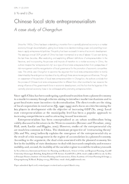 Chinese local state entrepreneurialism: A case study of Changchun