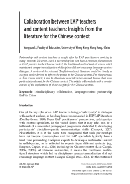 Collaboration between EAP teachers and content teachers: Insights from the literature for the Chinese context