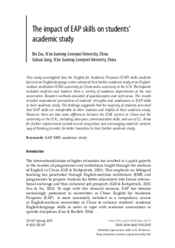 The impact of EAP skills on students' academic study