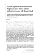 Teaching English for Research Publication Purposes to novice Chinese scientist authors: An interview with Margaret Cargill
